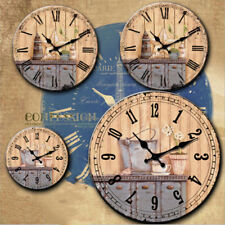 34cm Vintage Style Wooden Wall Clock Shabby Chic Rustic For Bedroom Bathroom