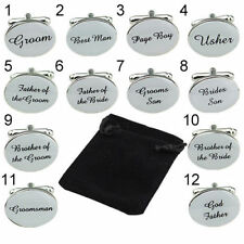 Silver GROOM USHER ngraved Cufflinks Cuff Links Personalised Gift Wedding DAD