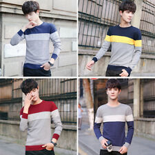 Men Pullover Striped O-Neck Men's Casual Sweater Slim Fit Knitting Mens Sweaters