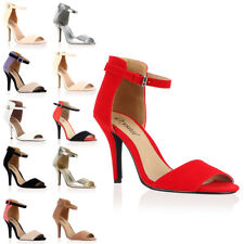 NEW WOMENS FAUX SUEDE LADIES PEEP TOE HIGH STILETTO HEEL SANDAL SHOES SIZE 3-8