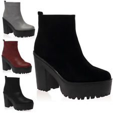 NEW WOMENS PLATFORMS LADIES ZIP UP BLOCK CHUNKY GRIP HEEL BOOTS SHOES SIZE 3-8