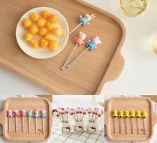 Peppa Pig Hello Kitty Fruit Forks Picks Stainless Steel Kids Party Birthday Gift