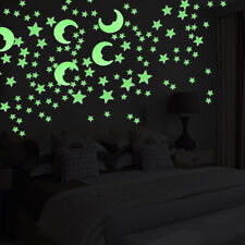 Glow In The Dark Stars Moon Stickers Children Bedroom Nursery Wall Decals