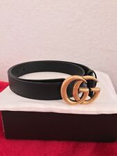 @ Unisex Gucci Belt BLACK Leather GG Gold Buckle size 95 fits 32-34  #