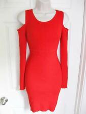 BEBE RED ENGINEER RIB COLD SHOULDER CUTOUT SWEATER DRESS NEW NWT XLARGE XL
