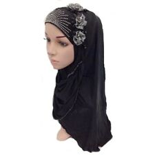 Muslim Islamic Hijab Scarf Woman Amira Cap Beautiful Hot Drill Three Flowers