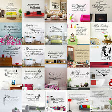 DIY Art Vinyl Wall Sticker Decal Mural Quote Word Poem Home Room Decor Removable