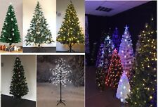 Festive Fibre Optic Xmas Christmas Green Artificial Tree LED Deco Flakes Bubble