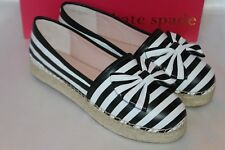 NEW! KATE SPADE Black White Stripe Nappa Leather Bow LINDS Slip On Loafers