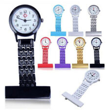 Womens Stainless Steel Nurse Watch Brooch Tunic Fob Pocket Quartz Doctor Watches