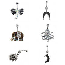 304 Stainless Steel Vintage Wiccan Pagan Belly Bar Navel Ring Piercing Jewelry