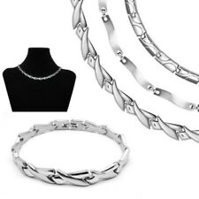 One Set Stainless Steel Collier and Bracelet Chain Necklace Silver Matt Shiny