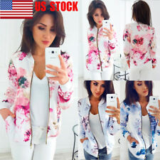 US Womens Floral Jacket Casual Short Zipper Waist Coat Outwear Blazers Slim Tops