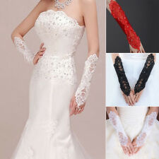 Charming Bridal Sexy Lace Flower Fingerless Gloves Lady Prom Party Glove Beaded