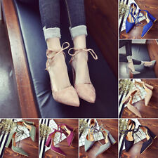 New Women's Block Kitten High Heels Suede Point toes Shoes Pumps Pointed shoes