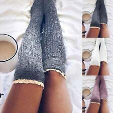 Women Winter Warm Knit Crochet Lace Knee Leg Warmer Slouch Leggings Boot Socks