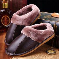 Men Winter Fleece Lined Home Shoes Warm Fuzzy Cow Leather Slip On House Slippers