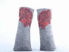 Gray women mittens with red lace roses, wrist & arm warmers, felted merino wool