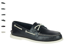 NEW Mens SPERRY TOP-SIDER Navy Blue Leather A/O AUTHENTIC ORIGINAL Boat Shoes
