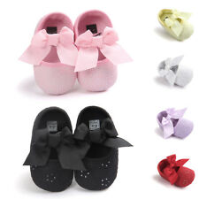 Toddler Kids Baby Girls Prewalker Lace Bowknot Soft Bottom Non-slip Shoes Size