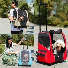 Dog Pet Trolley Carrier Stroller Transport Backpack Push Wheeled Cage Cart Crate