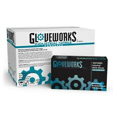 GLOVEWORKS Blue Nitrile Industrial Powdered Disposable Gloves (Box of 100)
