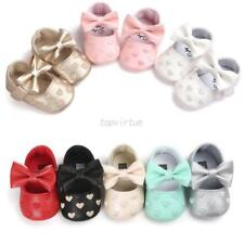 Toddler Kids Girl Crib Shoes Baby Bowknot Soft Sole Prewalker Sneakers 0-18Month