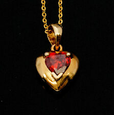 Noble Jewel Heart shaped Red Zirconia Pendant & 925 Sterling Silver Necklace
