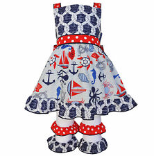 AnnLoren Girls Boutique Nautical Rope Dress and Capri Outfit sz 12/18 mo-9/10
