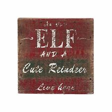 "Wood Christmas Wall Art Decor  Sign ""An Old Elf And A Cute Reindeer Live Here"""