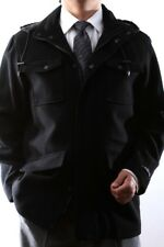 WEST END YOUNG GENERATION MENS BLACK WOOL WINTER COAT,W93517-93504-BLK