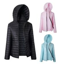 Womens Casual Zipper Solid Color Long Sleeve Down Coat Hooded Outwear Jersey