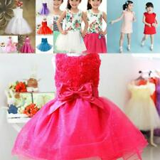1Pc Kids Flower Baby Girl Bow Dress Wedding Party Dress Pageant Tulle Tutu Dress