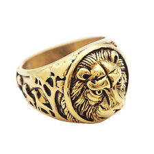 Magideal Stainless Steel Lion Ring Vintage Gold Ring Punk Gothic Size 7 -13