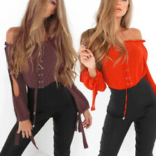Women's Sexy Off Shoulder Long Sleeve Shirt Party Clubwear Top Blouses Dazzling