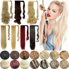 Real Hair Wrap Around Ponytail Clip In Hair Extensions Real Human Made Brown AP3
