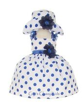 New Baby Girls White & Navy Blue Polka Dot Dress Wedding Pageant Easter 1002