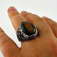 Sterling 925 Silver Handmade Turkish  Jewelry Tiger's Eye Men's Ring All Size