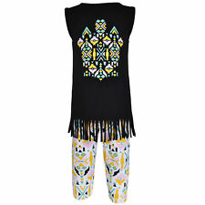 AnnLoren Girls Tribal Tunic and Legging Capri Set sz 12/18 mo-13/14yrs