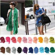 New Women Girl Candy Color long Soft Silk Chiffon Scarf Wrap Shawl Scarves lot u