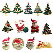 Gold Plated Christmas Tree Santa Claus Rhinestone Enamel Brooch Christmas Pin