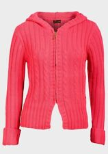 BNWT LADIES WOMENS HOODED PINK CABLE KNIT JUMPER CARDIGAN - 10 12 14 16