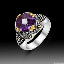 Classic Vintage Beautiful Dragon Claw Amethyst 925 Sterling Silver Ring size 789