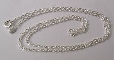 SOLID 925 STERLING SILVER ITALIAN FINE CHAIN NECKLACE BOLT RING CLASP 45 cm