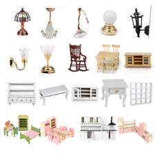 Dolls House Kitchen Room Bedroom Miniature Furniture Table Chair Lamp Kids Toys