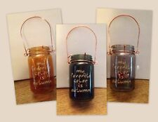 "GLASS MASON JAR ""MY FAVORITE COLOR IS AUTUMN"" TEALIGHT CANDLE HOLDER NEW"