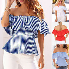 Stylish Women's Off Shoulder Tops Shirt Strapless Casual Blouse Loose T-shirts