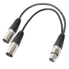 XLR 3Pin Female to Dual XLR Male Splitter Y Cable Adapter Connector Cord 1ft