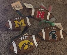 NCAA College Burlap Football Christmas Ornament/Hanging Decor NEW