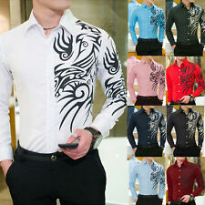 Mens Dragon Casual Shirts Slim Fit Long Sleeve Printing Casual Dress Shirts uni